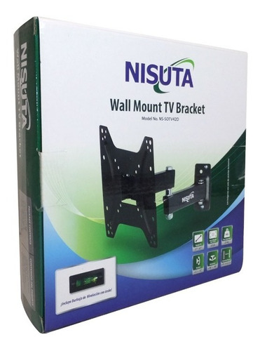soporte tv lcd led 14 hasta 42 tele 2 brazos movibles 25kg