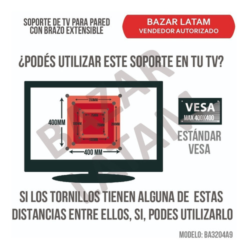 soporte tv lcd led smart 26 a 55 pared brazo extensible