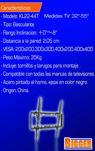 soporte tv led 32 40 42 43 49 50 55 basculante inclinacion