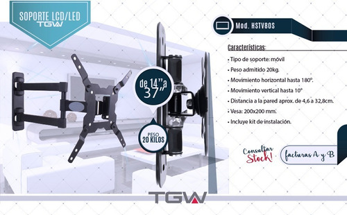 soporte tv led de 14 a 32 pared movil hstv80s tgw