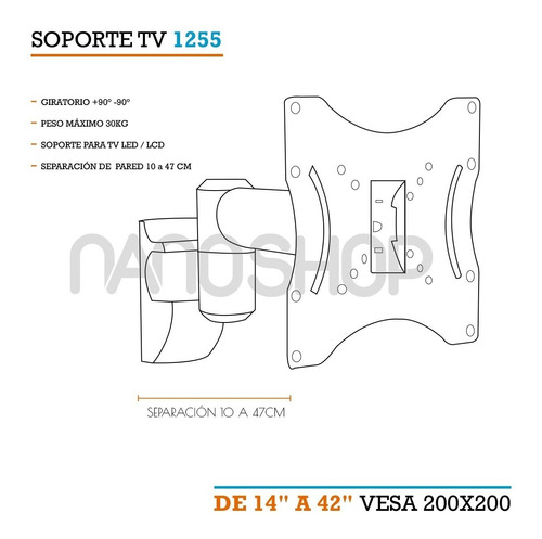 soporte tv led smart brazo articulado movil 42  40 32 24 23