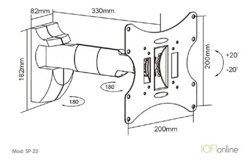 soporte tv led smart iofi móvil cubre cables 32 43 42 40