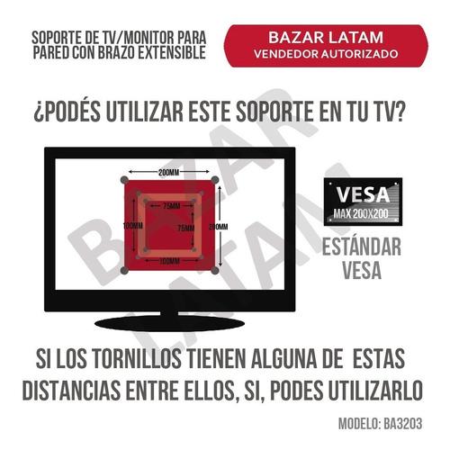 soporte tv monitor lcd led smart 17 a 42 brazo extensible