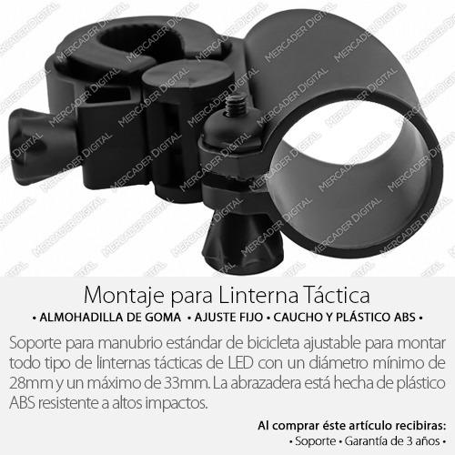 soporte universal de bicicleta para lámpara linterna táctica