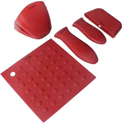 Red Silicona caliente mango soporte 3-Pack Mix