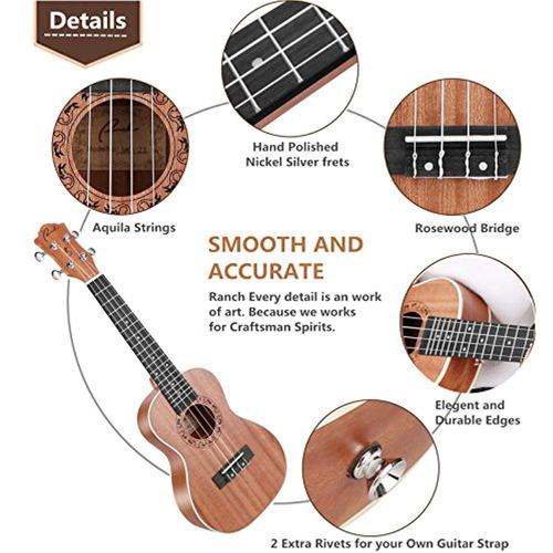 soprano ukulele ranch 21 pulgadas kit de