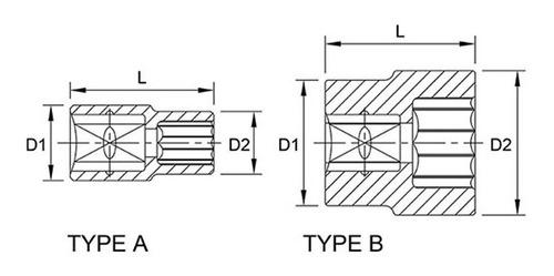 soquete estriado encaixe 1/2'' 30mm - toptul