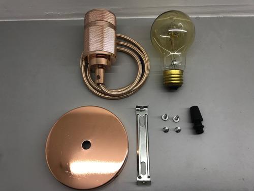 soquete retro vintage e27 edison cobre pendente + lampada