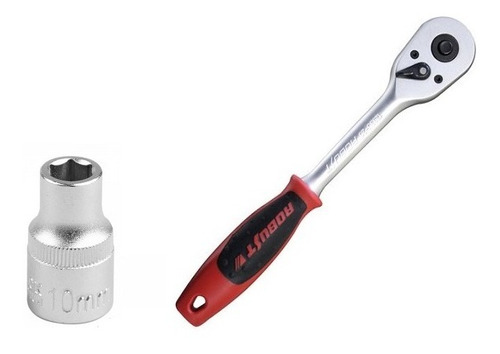 soquete sextavado 10mm c/ encaixe de 1/2 + catraca robust