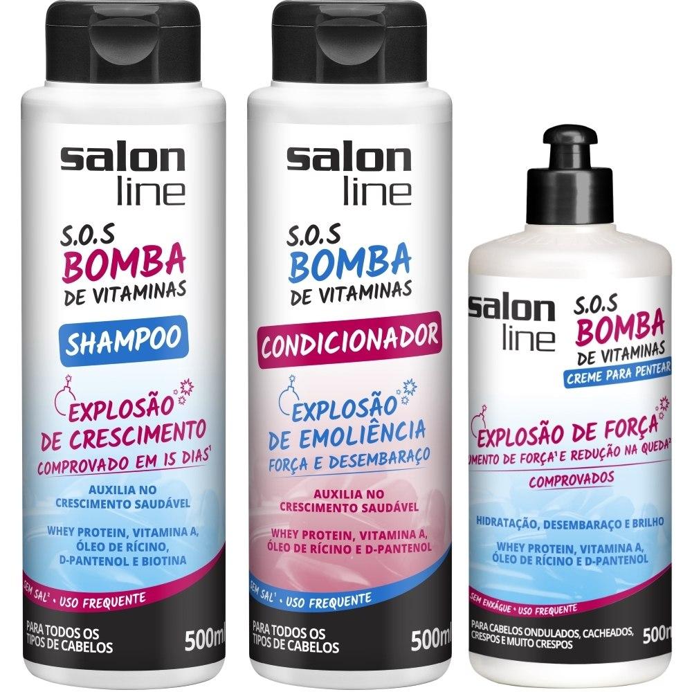 Sos bomba shampoo creme de pentear condicionador 500ml for Salon line bomba