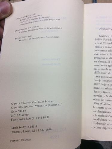 sospecha - m. g. lewis - ed. valdemar - novela gotica