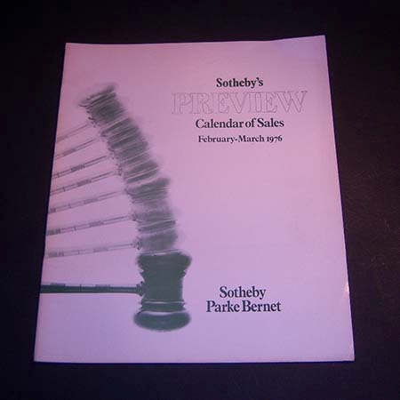 sotheby. calendar of sales. february march 1976