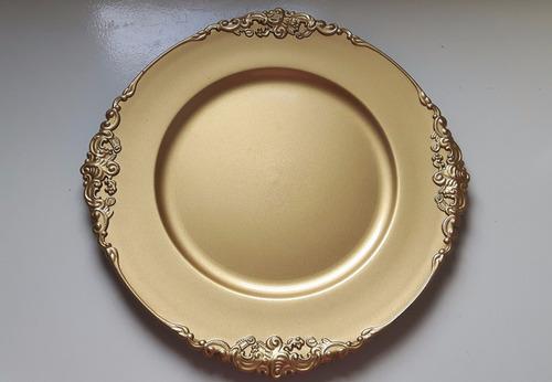 sousplat,supla,porta prato dourado 4 unidade