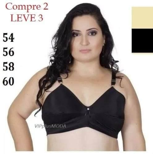 10abdba7f Soutien Sutiã Senhora Plus Size Com Ou Sem Bojo 54 56 58 60 - R  59 ...