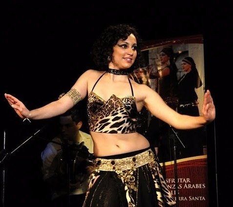 soutien-top y brazalete animal print danza arabe belly dance