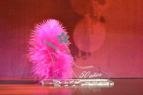 souvenir acrilico moño 15 40 50 flor cumple boda