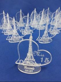 Souvenir Acrilico Torre Eifel Cumple 15 Años X 50 Unidades