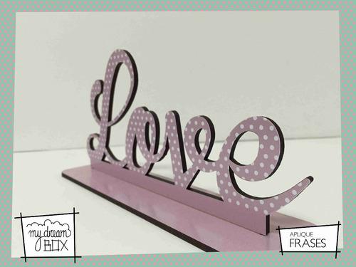 souvenir aplique madera 40cm decoracion frase a pedido amor
