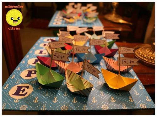 souvenir barquitos de papel origami babyshower cumple fiesta