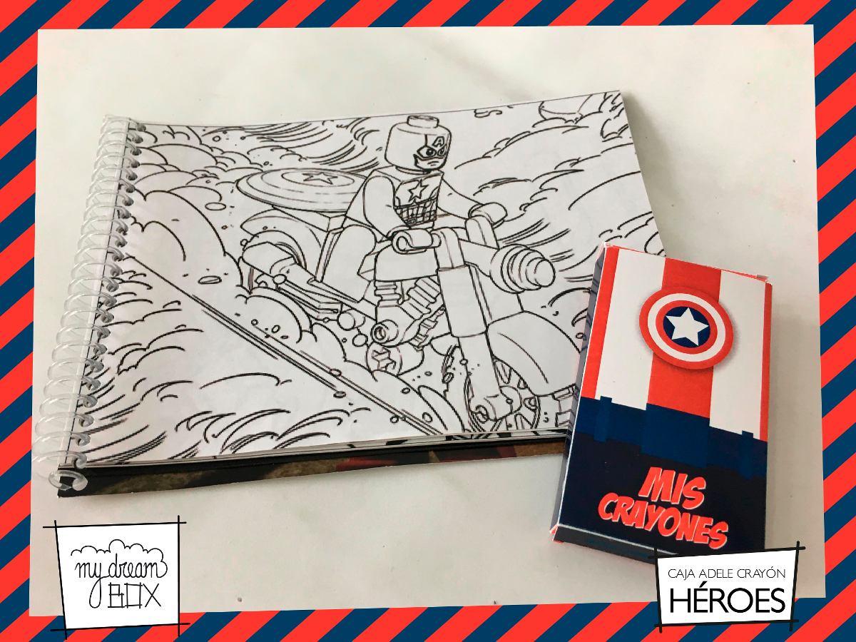 Souvenir Caja A1 + Lapices Crayon Libro Colorear Heroe Lego ...