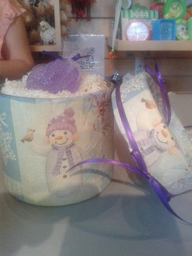 souvenir, caja decorada+toalla+jabón navidad fin de año !!!!