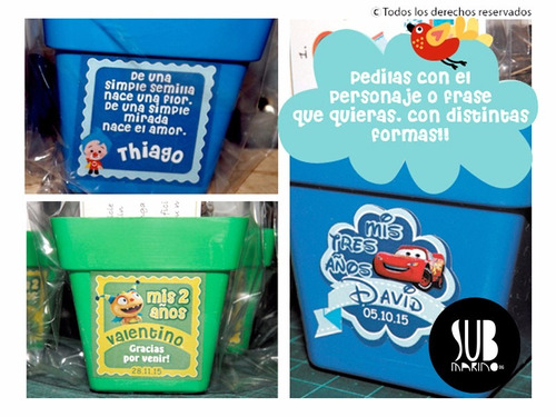 souvenir cumple infantil egresados kit siembra maceta nro 10