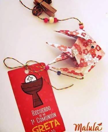 souvenir cumpleaños  origami colgante peces + tag pers.