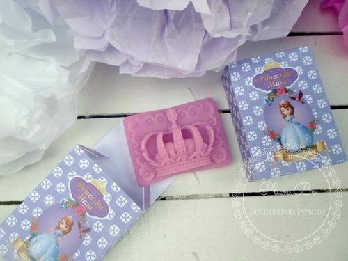 souvenir jaboncitos x 10 corona princ sofía/frozen/princesas