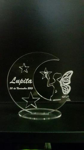 souvenir luna con hada x 10uni.  acrilico,15 años,bau,cump