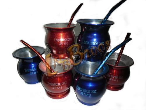 souvenir mates aluminio color grabado laser c/bombilla color
