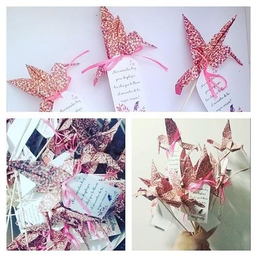 souvenir origami toppers grulla + tag person. con m. envio