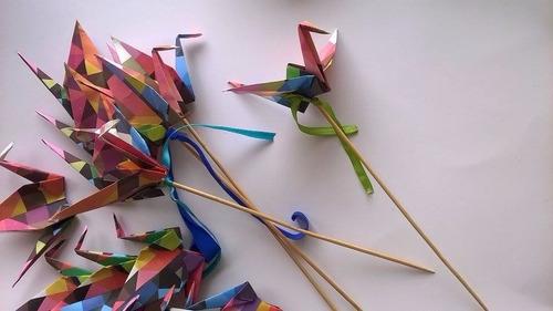 souvenir origami toppers grulla + tag personalizada sin merc