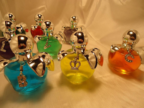 souvenir perfume  manzanita tapa celeste 15 anos -cumpleaños
