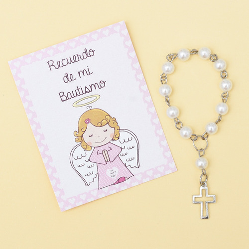 souvenir salve regina bautismo denario perlas c/estampa rosa