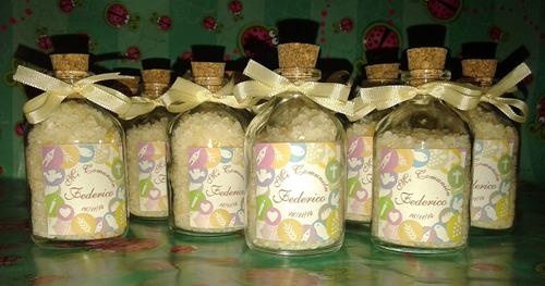souvenires botellitas con sales de colores aromatizadas