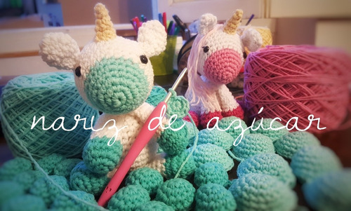 souvenires modelo unicornio - nariz de azucar amigurumis