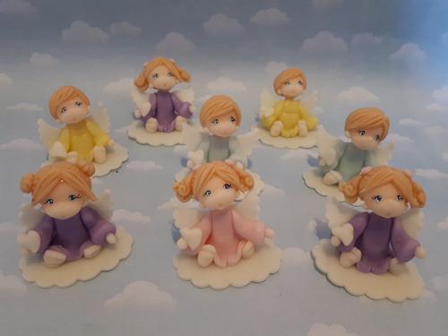 souvenirs 10 angelitos bautismo comunión porcelana fría