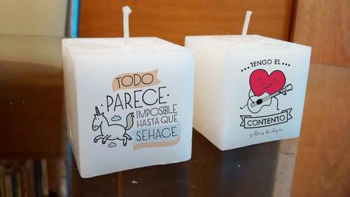 souvenirs 15 años personalizados velas 5x5 cm con fragancia
