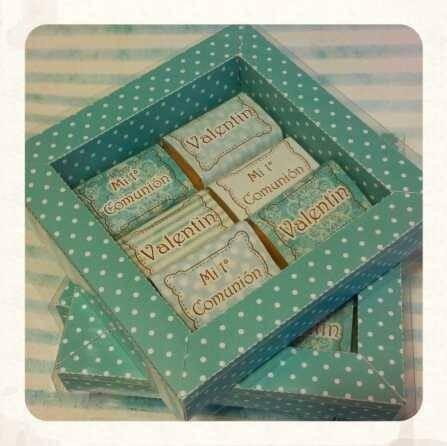 souvenirs caja con 6 chocolates personalizados x 10 uni