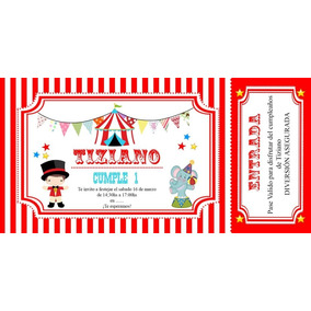 d0343c6bbd9cb Invitaciones De Cumpleaños Tematica Circo - Souvenirs para tu ...