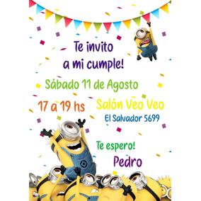 95f3bb48cfcce Tarjetas Invitacion Minions De en Mercado Libre Argentina