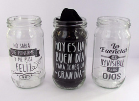 Souvenirs Frasco Vaso Vidrio Decorado Frase Serigrafia