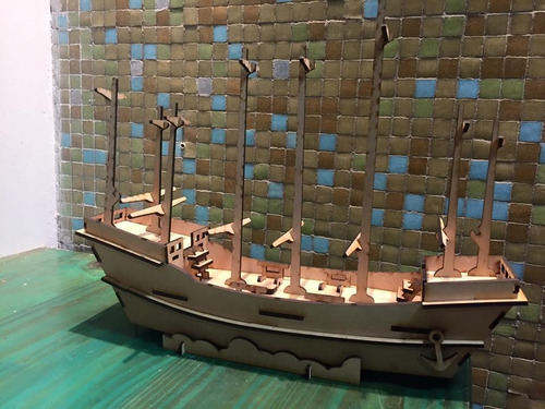 souvenirs infantiles barco antiguo de fibrofacil mdf fibro