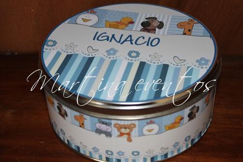 souvenirs  lata central con 40 chocolates personalizados