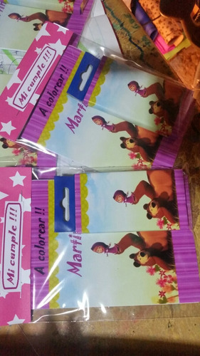 souvenirs libro actividad personaliza + 6 lápices de colores