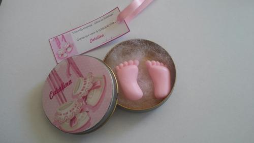 souvenirs nacimiento nena /varon con jaboncitos de piecitos