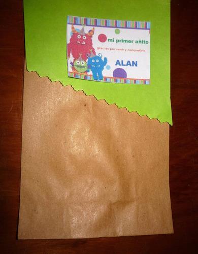 souvenirs para un añito varòn, bolsitas de papel madera deco