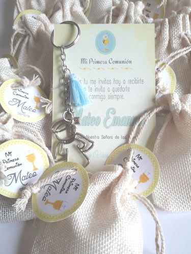 souvenirs setx3 llavero estampita bolsa comunion bautismos