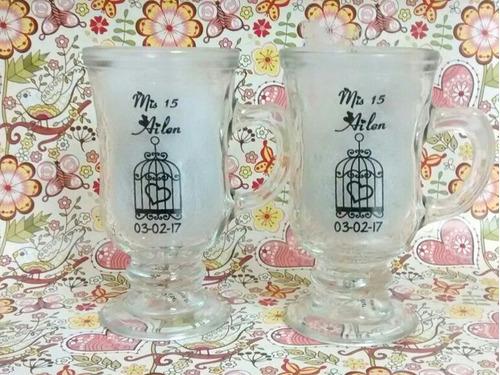 souvenirs taza jarro cafe vidrio 15 años boda cumple mates