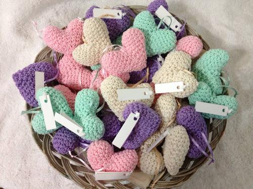 souvenirs tejidos corazones crochet nacimiento cumpleaños